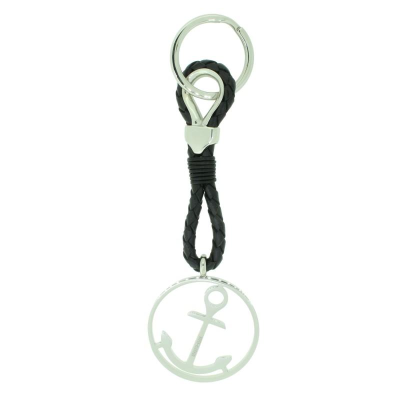 HAFEN-KLUNKER Sailor Collection Schlüsselanhänger rund mit Anker 110566 Leder Edelstahl schwarz silber