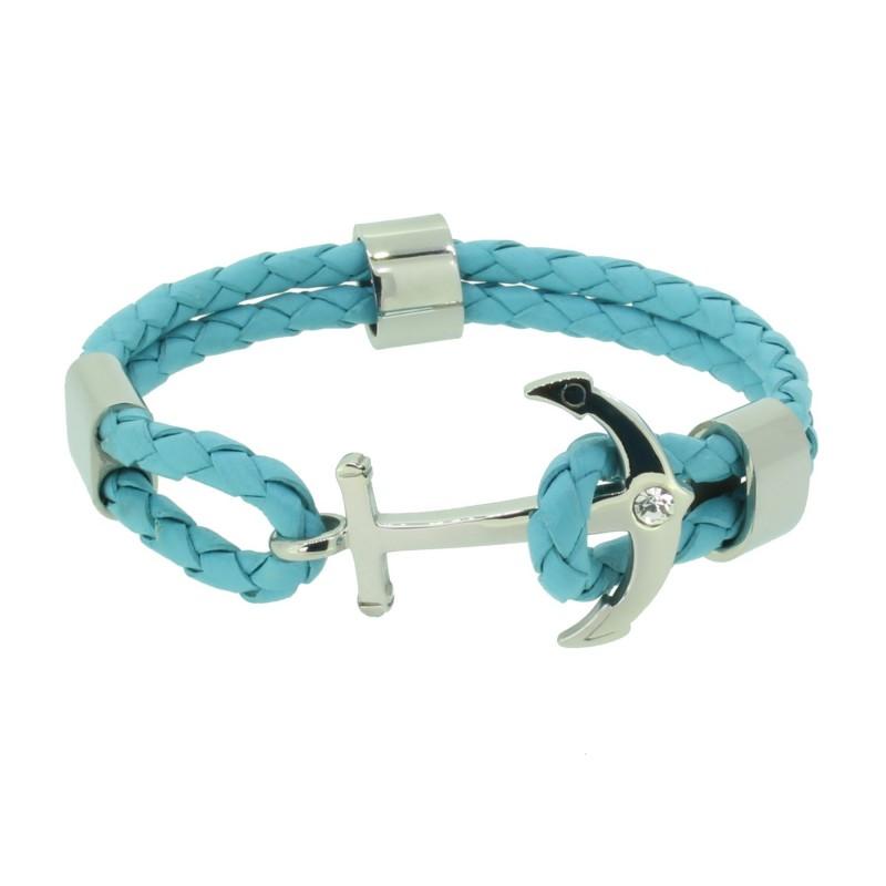 HAFEN-KLUNKER Anker Armband 110498 Edelstahl Leder Zirkonia Hellblau Silber