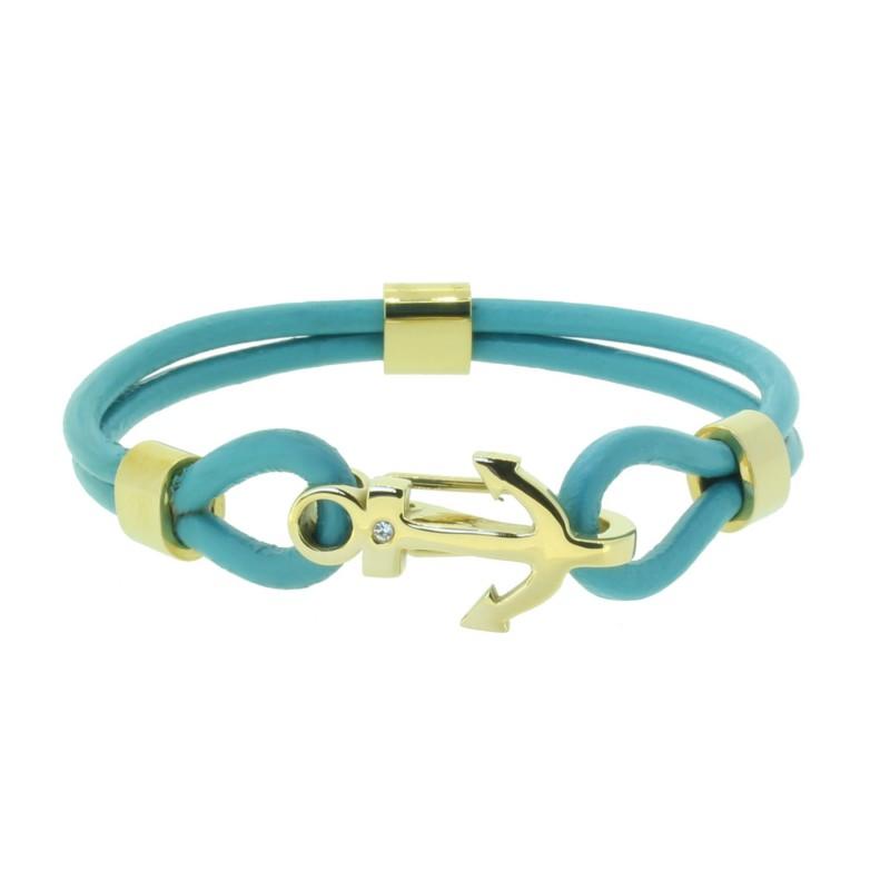 HAFEN-KLUNKER Anker Armband 110505 Edelstahl Leder Zirkonia Türkis Gold