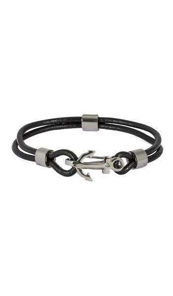 HAFEN-KLUNKER Anker Armband 107684 Edelstahl Leder Zirkonia schwarz silber