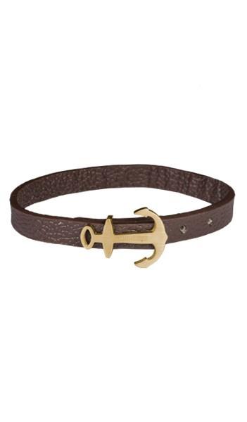 HAFEN-KLUNKER MINI Anker Armband 107763 Edelstahl Leder braun gold matt