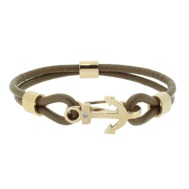 HAFEN-KLUNKER Anker Armband 110507 Edelstahl Leder Zirkonia Hellbraun Rosegold
