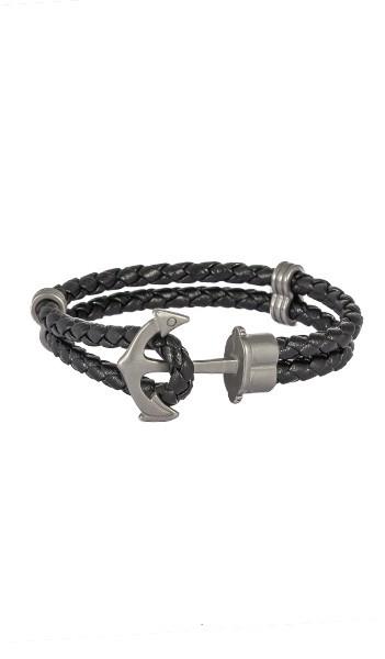 HAFEN-KLUNKER Anker Armband 107690 Edelstahl Leder schwarz silber matt