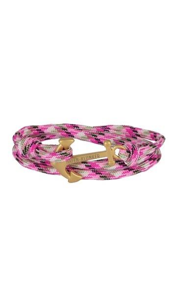 Armband Anker Damen In Gold Matt & Pink-Meliert Edelstahl & Nylon - Wickelarmband verstellbar, tolles Geschenk Für Frauen