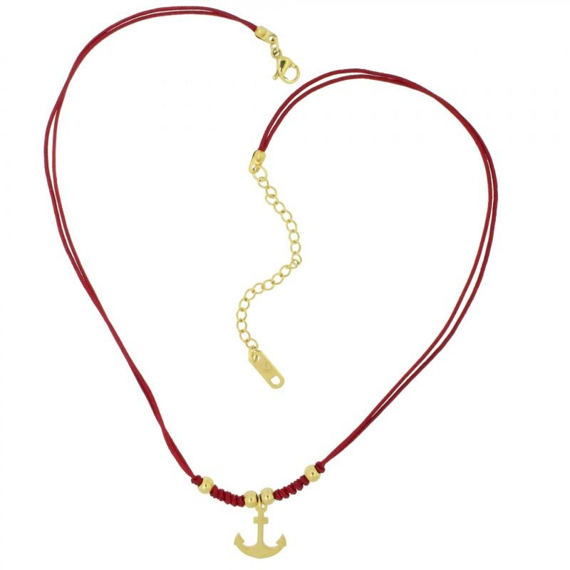 HAFEN-KLUNKER HARMONY Choker Halskette Anker 110426 Textil Edelstahl Rot Gold