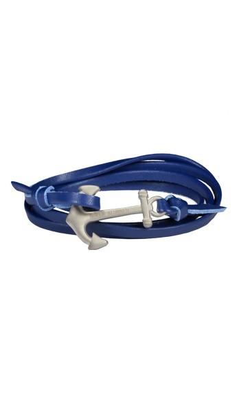 Armband Anker Damen In Silber Matt & Blau Aus Edelstahl & Leder - Wickelarmband verstellbar, Geschenkidee Für Frauen