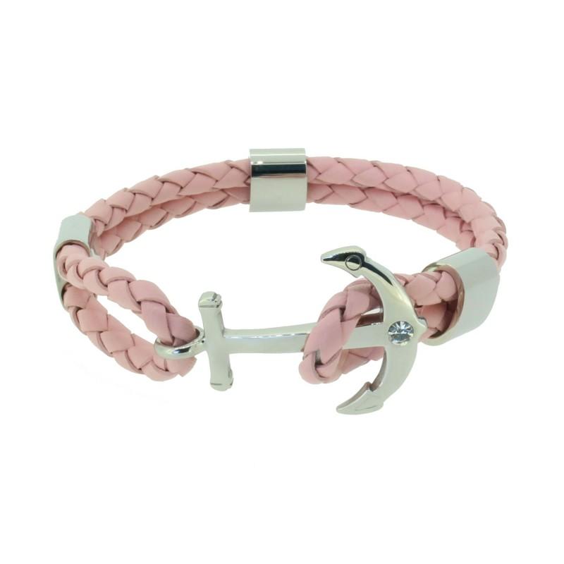 HAFEN-KLUNKER Anker Armband 110499 Edelstahl Leder Zirkonia Rosa Silber