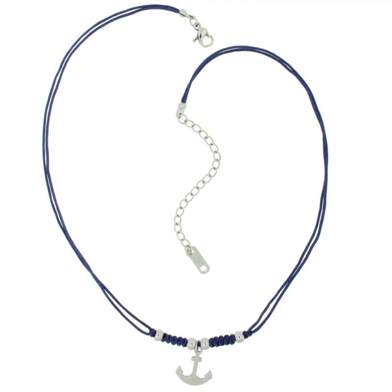 HAFEN-KLUNKER HARMONY Choker Halskette Anker 110428 Textil Edelstahl Blau Silber