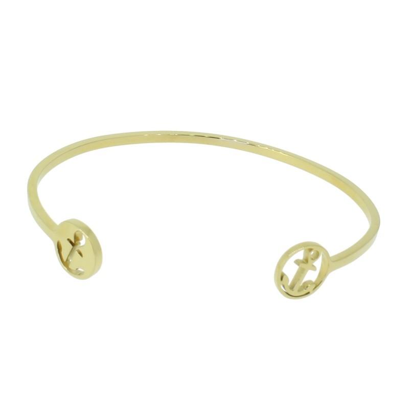 HAFEN-KLUNKER Glamour Collection Armreif Anker Doppeldesign 110518 Edelstahl Gold