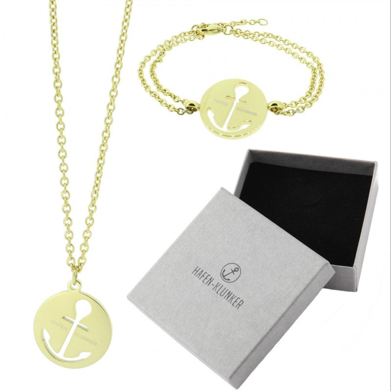 HAFEN-KLUNKER - SET: Glamour Halskette Anker und Armband 110463 Edelstahl Gold