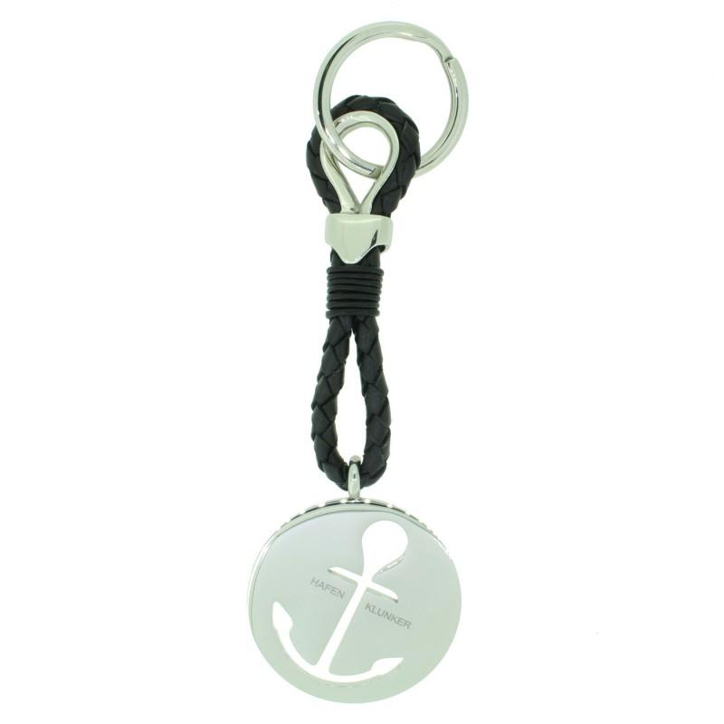 HAFEN-KLUNKER Sailor Collection Schlüsselanhänger rund Anker ausgestanzt 110563 Leder Edelstahl schwarz silber