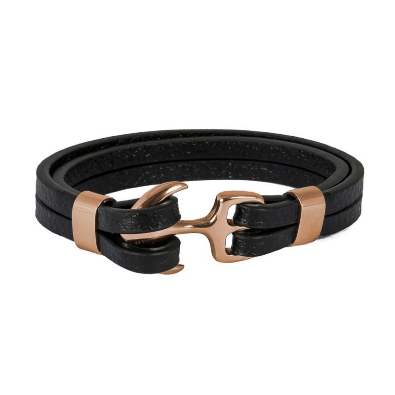 HAFEN-KLUNKER Anker Armband 107689 Edelstahl Leder schwarz rosegold