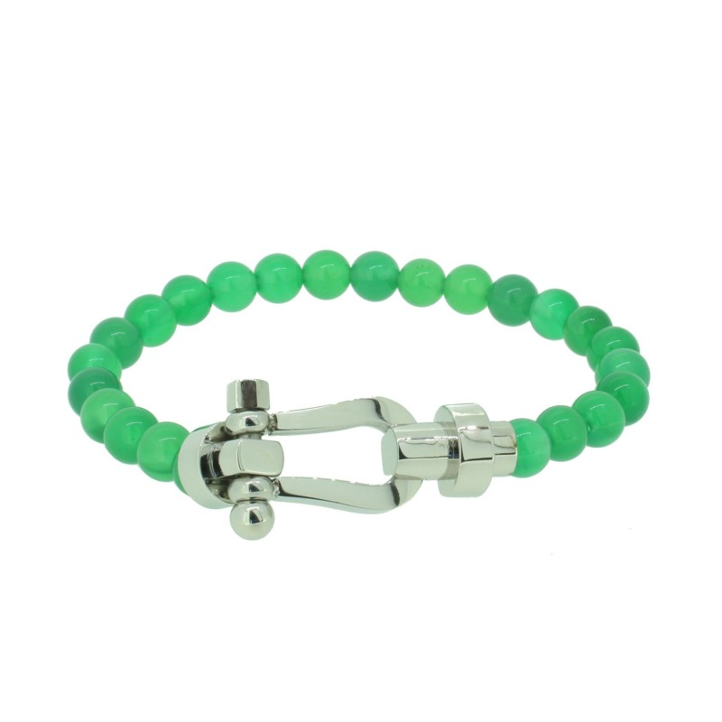 HAFEN-KLUNKER HAPPINESS Collection Armband Schäkel 110545 Edelstahl Achat Grün Silber