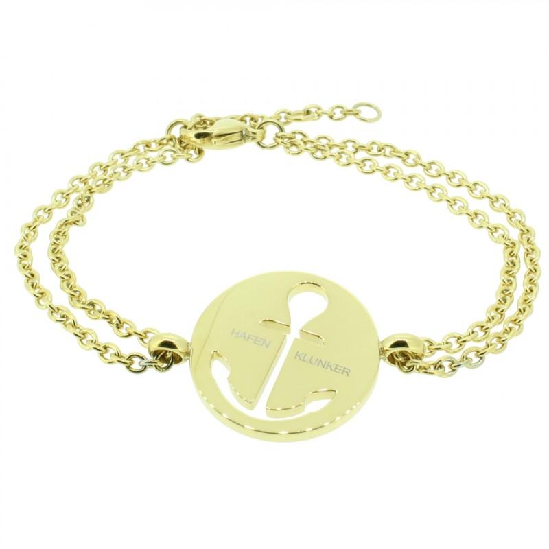 HAFEN-KLUNKER Glamour Collection Anker Armband 108035 Edelstahl Anker ausgestanzt rund gold