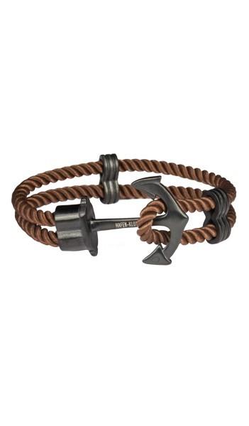 HAFEN-KLUNKER Anker Armband 107754 Edelstahl Textil braun schwarz matt