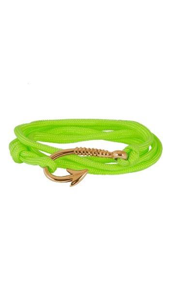 Armband Angelhaken Herren Damen In Rosegold & Neon-Grün Aus Edelstahl & Textil - Wickelarmband Nylonseil verstellbar