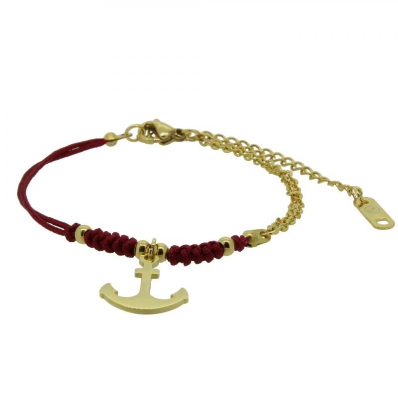 HAFEN-KLUNKER HARMONY Anker Armband 110411 Textil Edelstahl Rot Gold