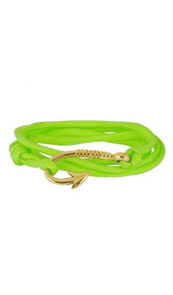Armband Angelhaken Herren Damen In Gold & Neon-Grün Aus Edelstahl & Textil - Wickelarmband Nylonseil verstellbar