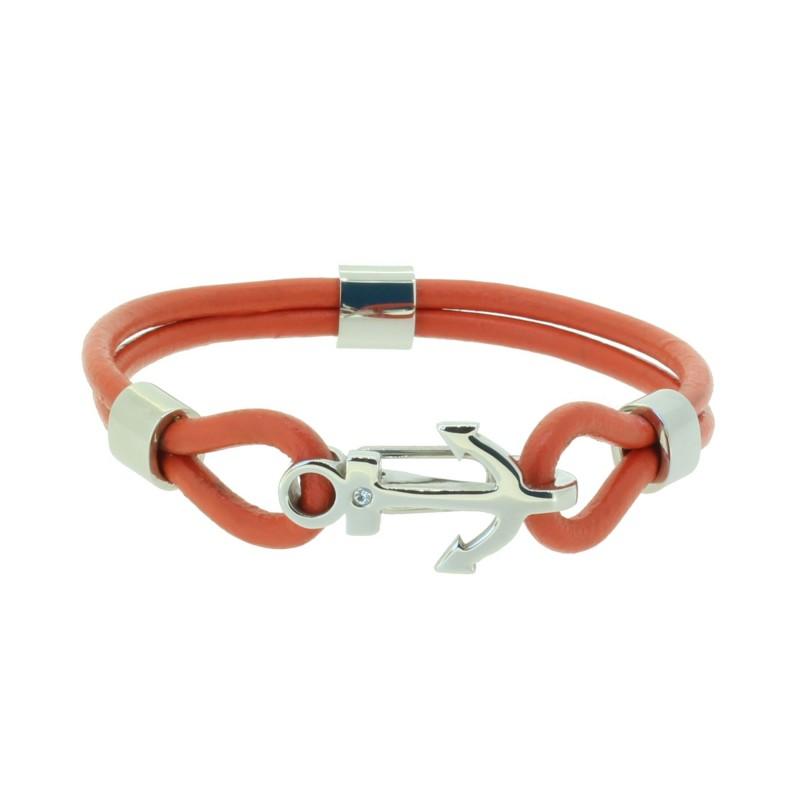 HAFEN-KLUNKER Anker Armband 110502 Edelstahl Leder Zirkonia Orangerot Silber