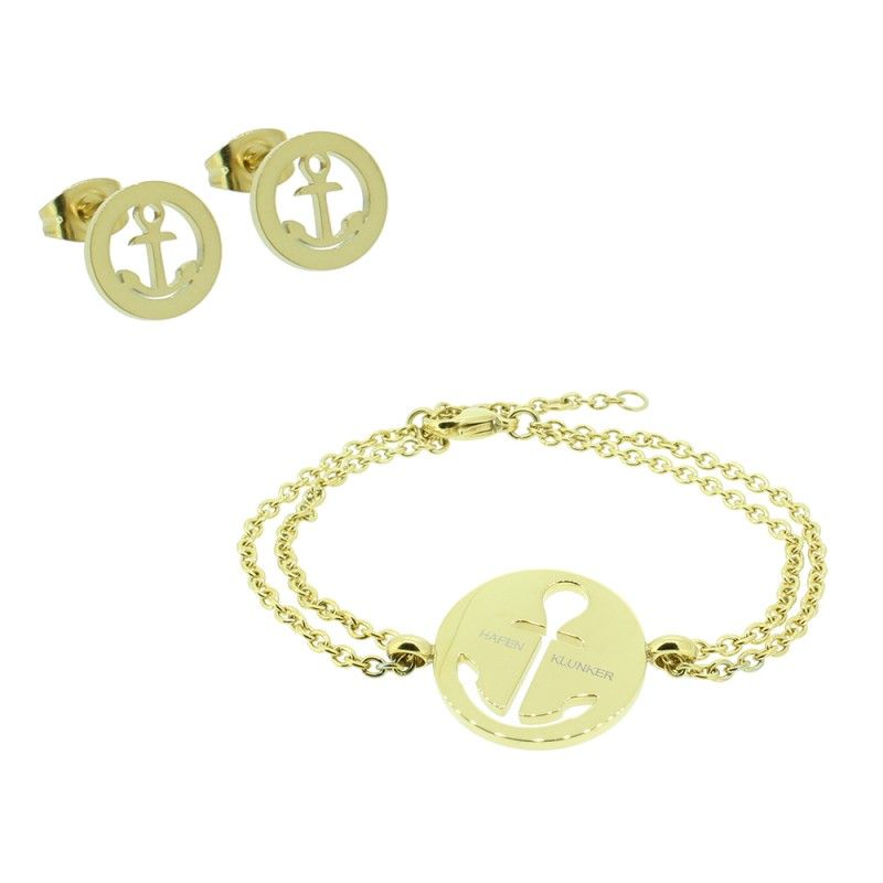 HAFEN-KLUNKER - SET: Armband Anker und ein Paar Ohrstecker Anker 110627 Edelstahl Gold