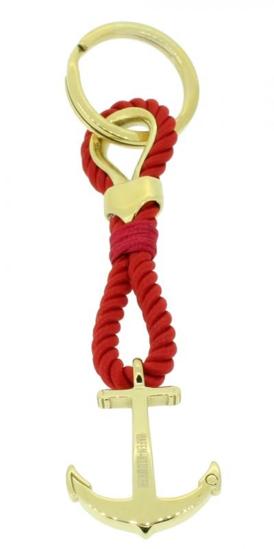 HAFEN-KLUNKER Sailor Collection Schlüsselanhänger Anker 108072 Textil Edelstahl rot gold