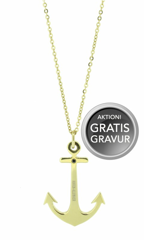 HAFEN-KLUNKER Glamour Collection Halskette Anker 108041 Edelstahl Anker mit Zirkonia gold