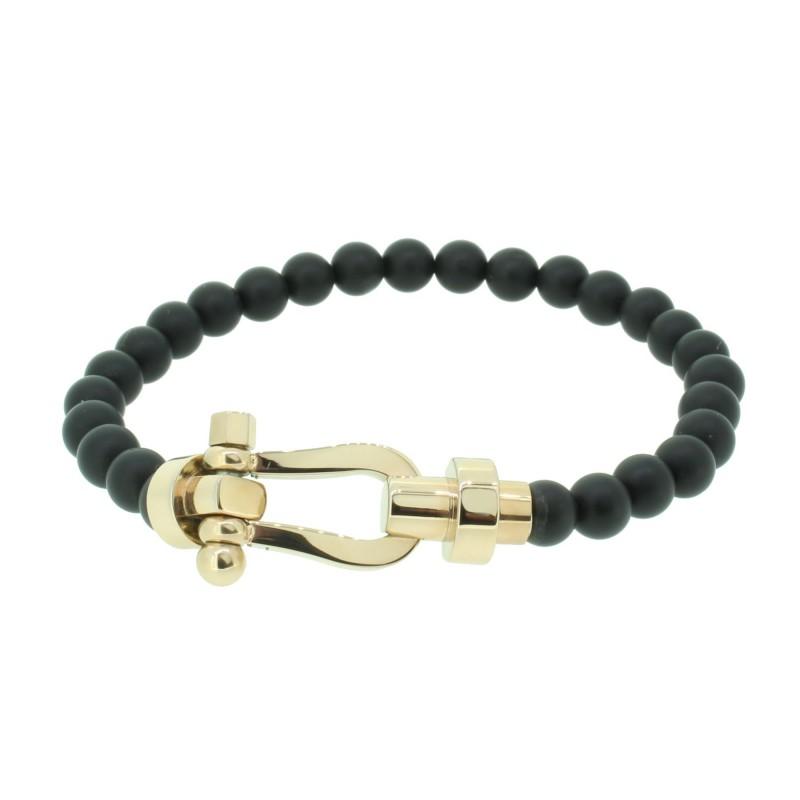 HAFEN-KLUNKER HAPPINESS Collection Armband Schäkel 110540 Edelstahl Onyx Schwarz Rosegold