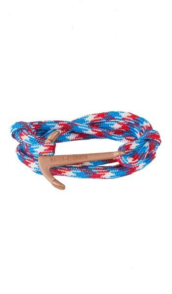 Armband Anker Damen In Rosegold Matt & Blau-Rot-Meliert Edelstahl & Nylon - Wickelarmband verstellbar, Geschenk Für Frauen
