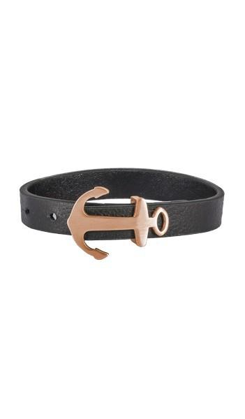 HAFEN-KLUNKER Anker Armband 107695 Edelstahl Leder schwarz rosegold matt