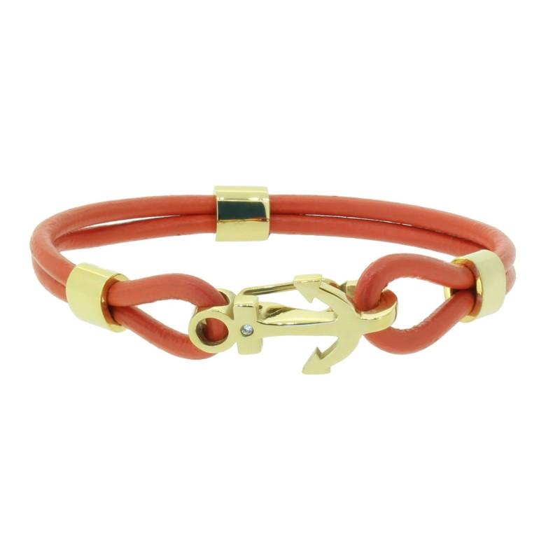 HAFEN-KLUNKER Anker Armband 110503 Edelstahl Leder Zirkonia Orangerot Gold