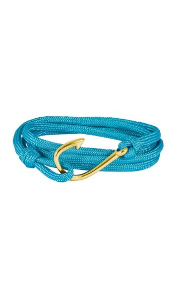Armband Angelhaken Herren Damen Unisex In Gold & Türkis Aus Edelstahl & Textil - Wickelarmband Nylonseil verstellbar