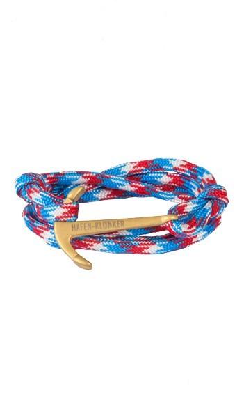 Armband Anker Damen In Gold Matt & Blau-Rot-Meliert Edelstahl & Nylon - Wickelarmband verstellbar, Geschenk Für Frauen