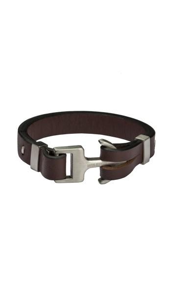 HAFEN-KLUNKER Anker Armband 107750 Edelstahl Leder braun silber matt
