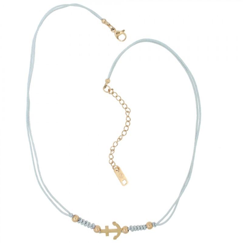 HAFEN-KLUNKER HARMONY Choker Halskette Anker 110436 Textil Edelstahl Grau Rosegold