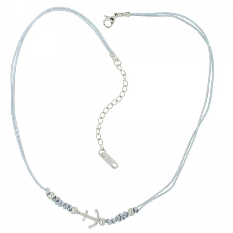 HAFEN-KLUNKER HARMONY Choker Halskette Anker 110434 Textil Edelstahl Grau Silber