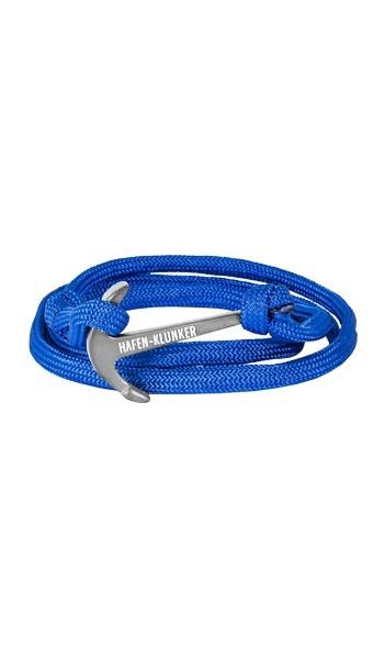 Armband Anker Damen In Silber Matt & Blau Aus Edelstahl & Nylon - Wickelarmband verstellbar, Geschenkidee Für Frauen