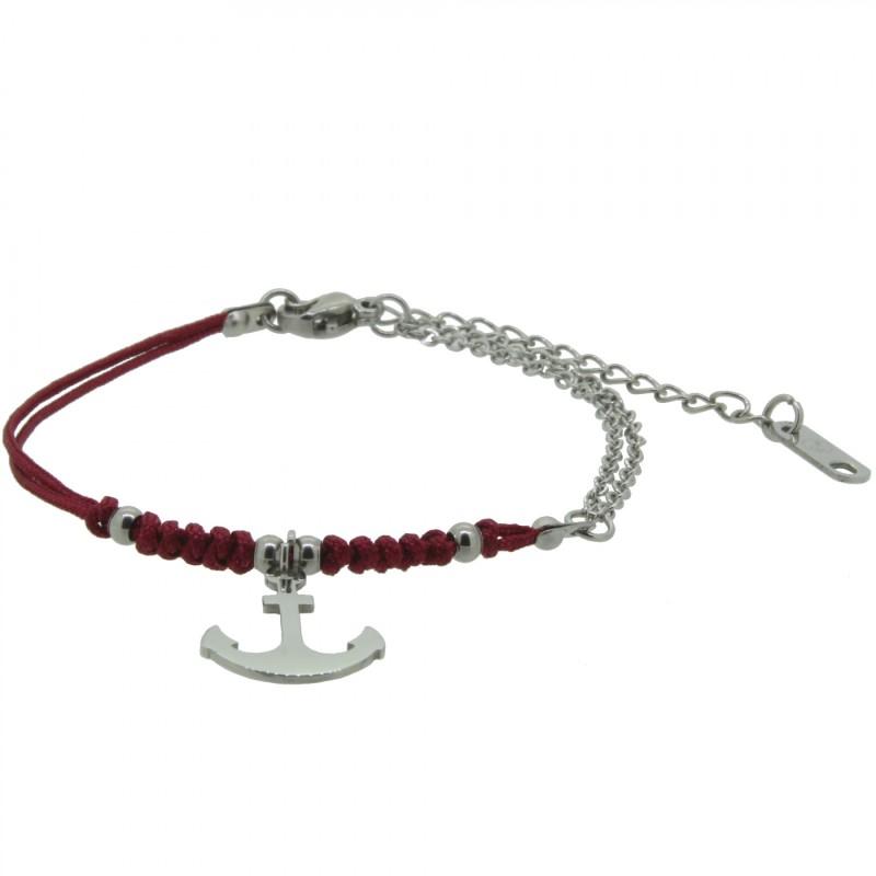 HAFEN-KLUNKER HARMONY Anker Armband 110410 Textil Edelstahl Rot Silber