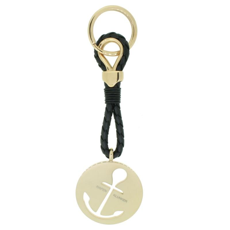 HAFEN-KLUNKER Sailor Collection Schlüsselanhänger rund Anker ausgestanzt 110565 Leder Edelstahl schwarz rosegold