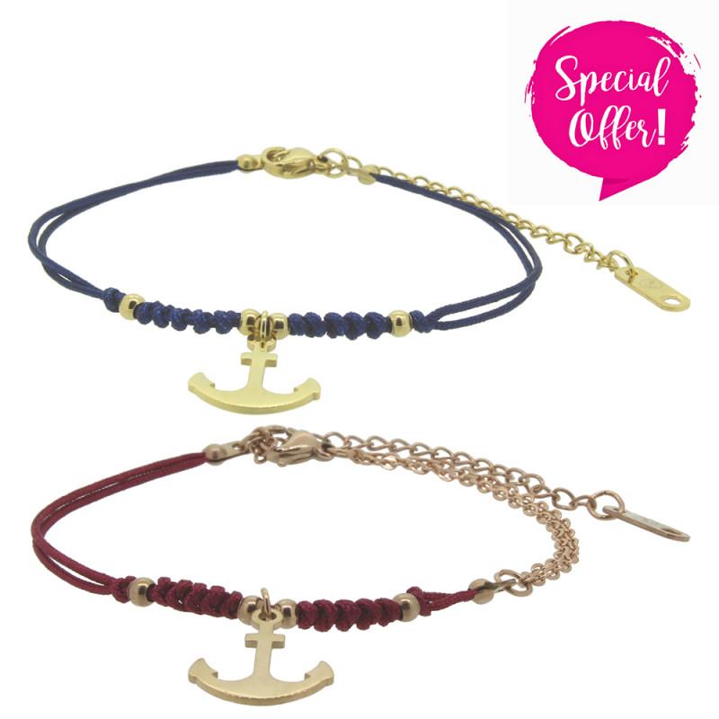 HAFEN-KLUNKER - SET: Anker Armbänder Harmony 110636 Textil Rot Blau Edelstahl Roségold Gold