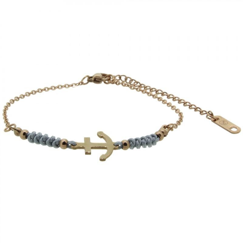 HAFEN-KLUNKER HARMONY Anker Armband 110421 Textil Edelstahl Grau Rosegold