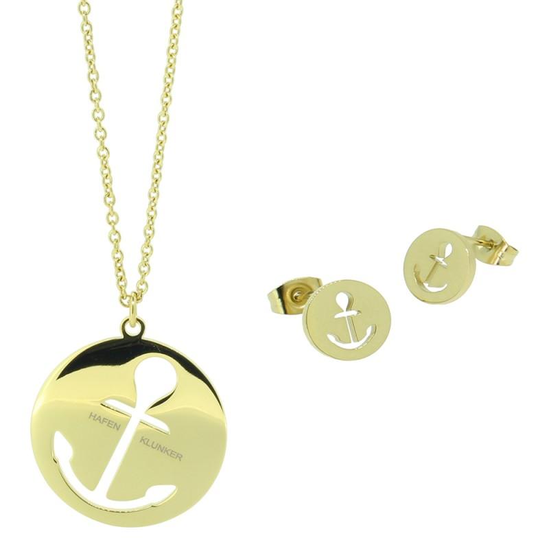 HAFEN-KLUNKER - GLAMOUR SET: Halskette Anker Lang und Ohrstecker 110629 Edelstahl Gold