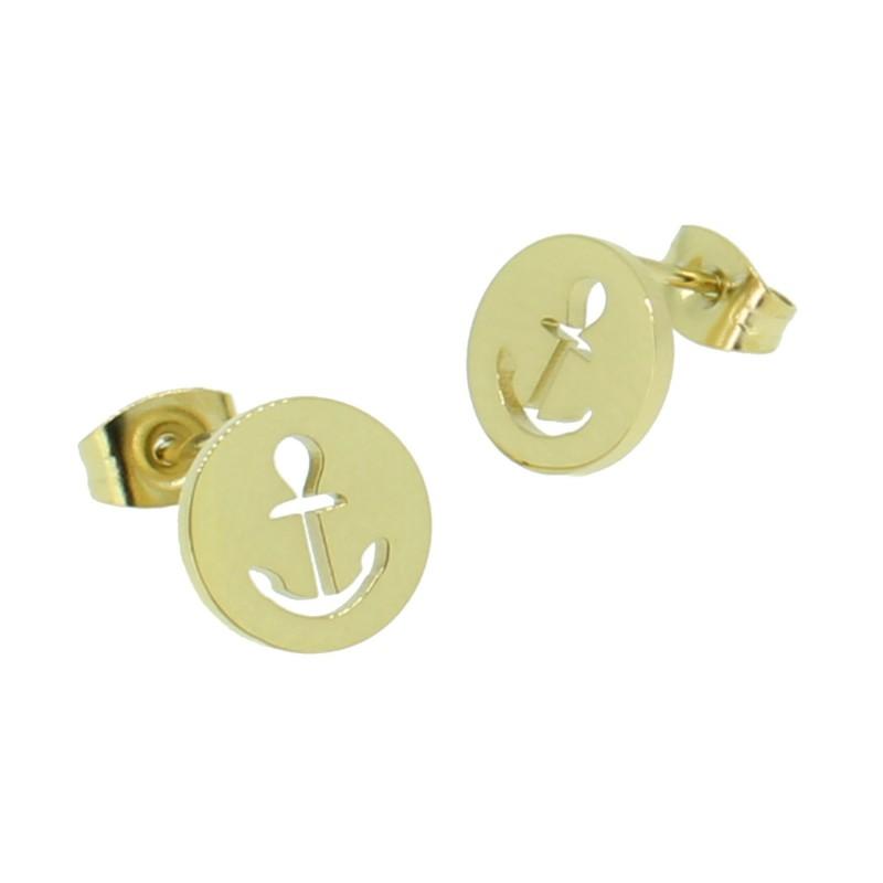 HAFEN-KLUNKER Glamour Collection Ohrstecker Anker ausgestanzt 110527 Edelstahl Gold
