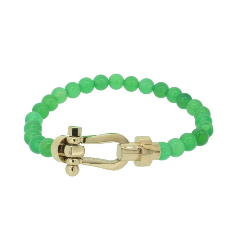 HAFEN-KLUNKER HAPPINESS Collection Armband Schäkel 110547 Edelstahl Achat Grün Rosegold