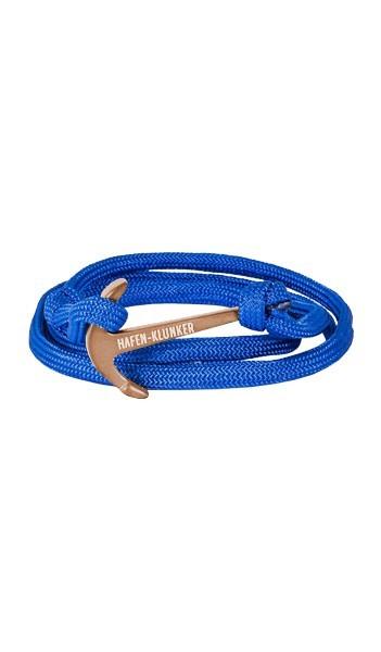 Armband Anker Damen In Rosegold Matt & Blau Aus Edelstahl & Nylon - Wickelarmband verstellbar, Geschenkidee Für Frauen