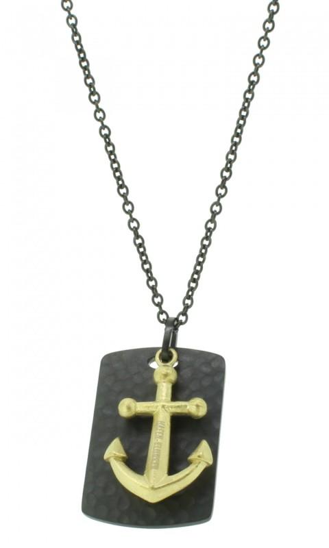 Kette Damen Herren Unisex Mit Anker-Anhänger Dog Tag Edelstahl Silber Schwarz Halskette (50+5cm) perfekt als Geschenk