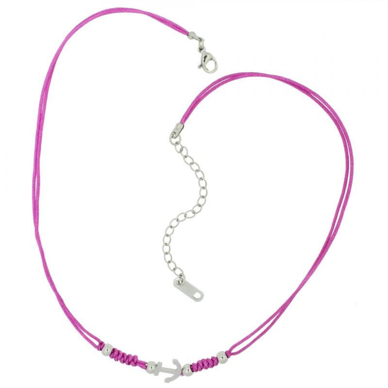 HAFEN-KLUNKER HARMONY Choker Halskette Anker 110431 Textil Edelstahl Fuchsia Silber