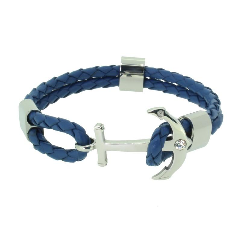 HAFEN-KLUNKER Anker Armband 110496 Edelstahl Leder Zirkonia Blau Silber