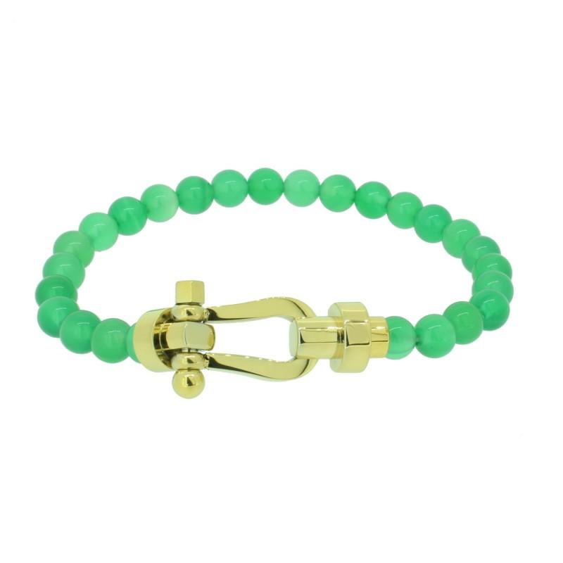 HAFEN-KLUNKER HAPPINESS Collection Armband Schäkel 110546 Edelstahl Achat Grün Gold