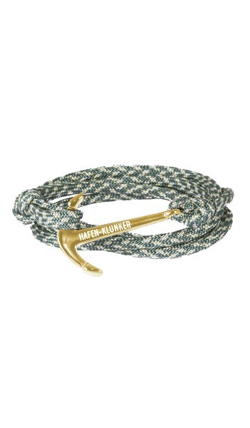 Armband Anker Damen In Gold & Grün-Meliert Edelstahl & Nylon - Wickelarmband verstellbar, tolles Geschenk Für Frauen